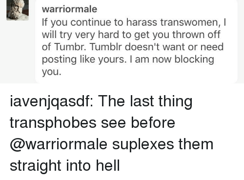 harass: warriormale  If you continue to harass transwomen, I  will try very hard to get you thrown off  of Tumbr. Tumblr doesn't want or need  posting like yours. I am now blocking  you. iavenjqasdf: The last thing transphobes see before @warriormale suplexes them straight into hell