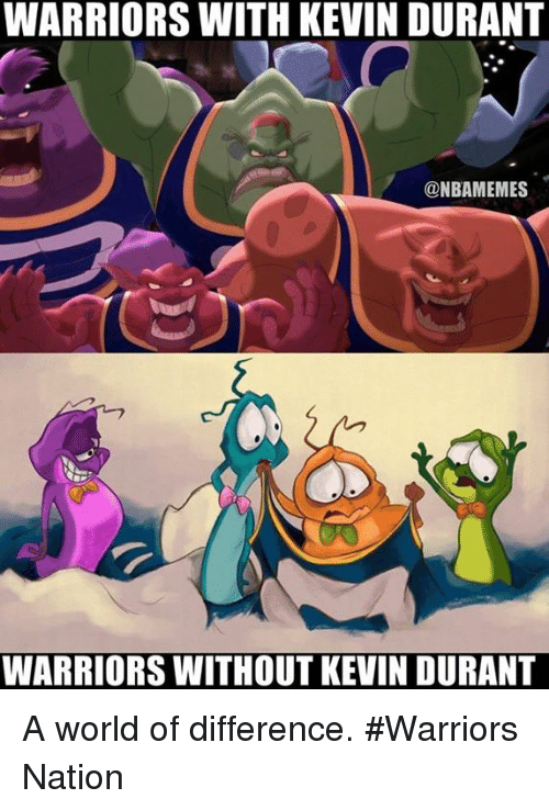 Kevin Durant, Nba, and Nationals: WARRIORS WITH KEVIN DURANT  ONBAMEMES  WARRIORS WITHOUT KEVIN DURANT A world of difference. #Warriors Nation
