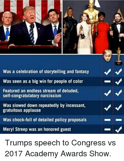 Memes, Meryl Streep, and 🤖: Was a celebration of storytelling and fantasy  Was seen as a big win for people of color  Featured an endless stream of deluded,  self-congratulatory narcissism  Was slowed down repeatedly by incessant,  A  gratuitous applause  Was chock full of detailed policy proposals  Meryl Streep was an honored guest Trumps speech to Congress vs 2017 Academy Awards Show.