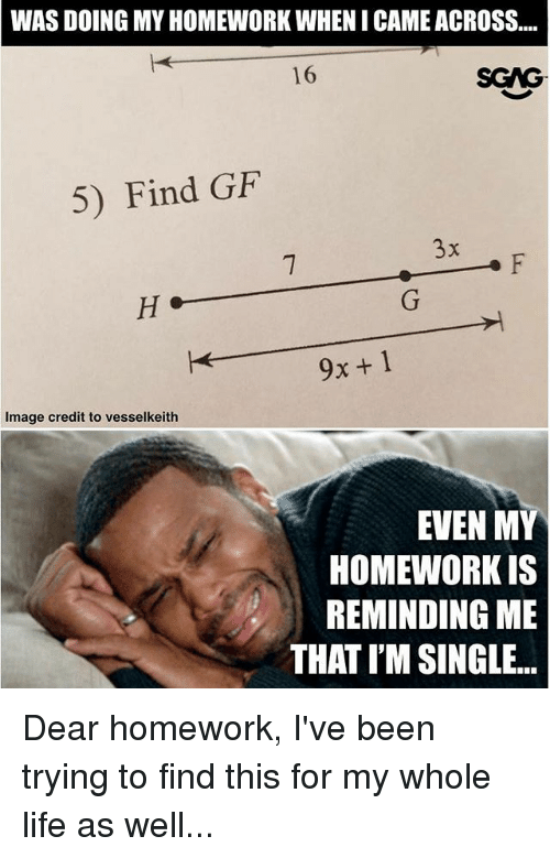 Gif, Life, and Memes: WAS DOING MY HOMEWORK WHENI CAME ACROSS...  16  SGAG  5) Find GiF  9x+1  Image credit to vesselkeith  EVEN MY  HOMEWORK IS  REMINDING ME  THAT I'M SINGLE. Dear homework, I've been trying to find this for my whole life as well...