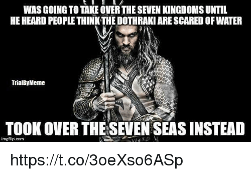 Water, Dothraki, and Seven Kingdoms: WAS GOING TO TAKE OVER THE SEVEN KINGDOMS UNTIL  HE HEARD PEOPLE THINK THE DOTHRAKI ARE SCARED OF WATER  TrialByMeme  TOOK OVER THESEVEN SEAS INSTEAD  imgflip.com https://t.co/3oeXso6ASp