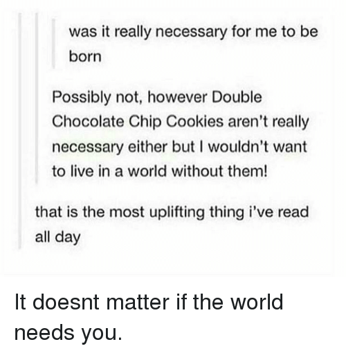 chocolate chip cookies: was it really necessary for me to be  born  Possibly not, however Double  Chocolate Chip Cookies aren't really  necessary either but I wouldn't want  to live in a world without them!  that is the most uplifting thing i've read  all day It doesnt matter if the world needs you.