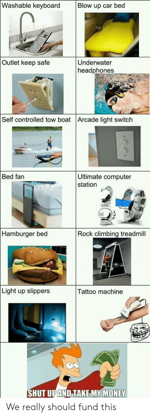 Treadmill: Washable keyboard  Blow up car bed  Outlet keep safe  Underwater  headphones  Self controlled tow boat Arcade light switch  Ultimate computer  station  Bed fan  Hamburger bed  Rock climbing treadmill  Light up slippers  Tattoo machine  SHUT UPAND TAKE MY MONEY We really should fund this