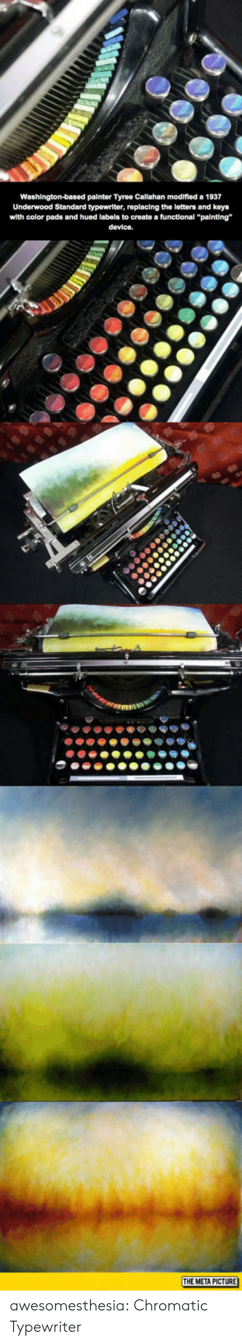 """typewriter: Washington-based painter Tyree Callahan modifled a 1937  Underwood Standard typewriter, replacing the letters and keys  with color pads and hued labels to create a functional """"painting""""  device.  THE META PICTURE awesomesthesia:  Chromatic Typewriter"""