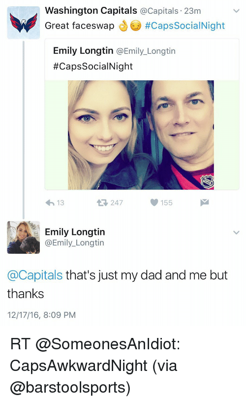 washington capital: Washington Capitals  @Capitals 23m  W Great faceswap  Caps Social Night  Emily Longtin  @Emily Longtin  #Caps Social Night  155  t 247  13  Emily Longtin  @Emily Longtin  @Capitals that's just my dad and me but  thanks  12/17/16, 8:09 PM RT @SomeonesAnIdiot: CapsAwkwardNight (via @barstoolsports)
