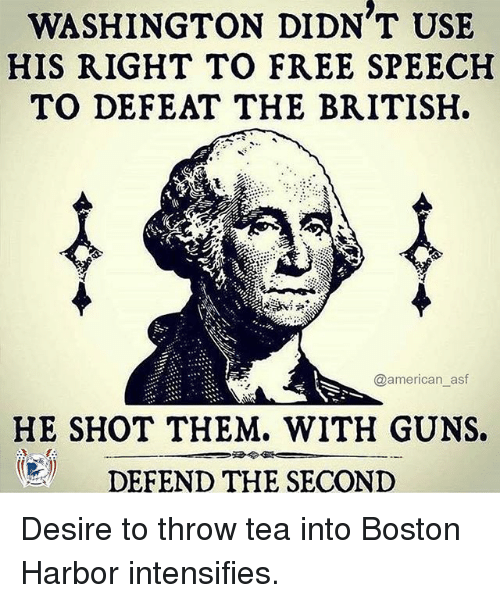 Guns, Memes, and American: WASHINGTON DIDN T USE  HIS RIGHT TO FREE SPEECH  TO DEFEAT THE BRITISH  @american_asf  HE SHOT THEM. WITH GUNS.  圆 DEFEND THE SECOND Desire to throw tea into Boston Harbor intensifies.