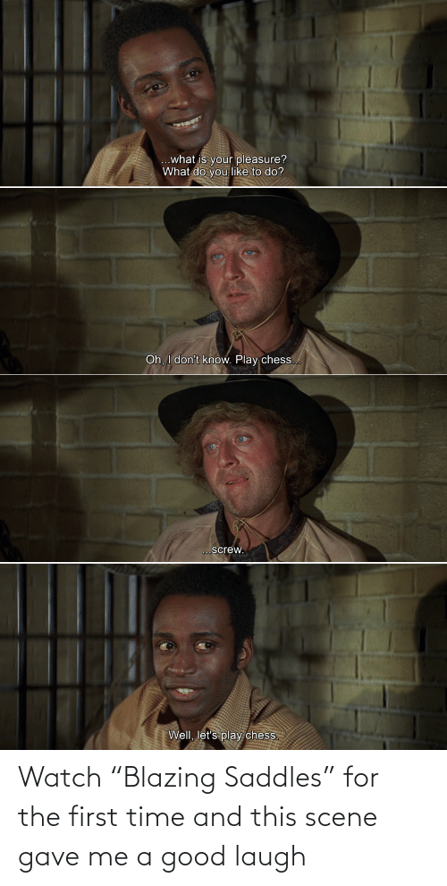 "for the first time: Watch ""Blazing Saddles"" for the first time and this scene gave me a good laugh"