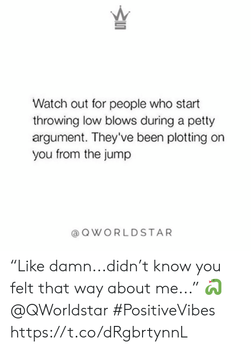 "petty: Watch out for people who start  throwing low blows during a petty  argument. They've been plotting on  you from the jump  QWORLDSTAR ""Like damn...didn't know you felt that way about me..."" 🐍 @QWorldstar #PositiveVibes https://t.co/dRgbrtynnL"