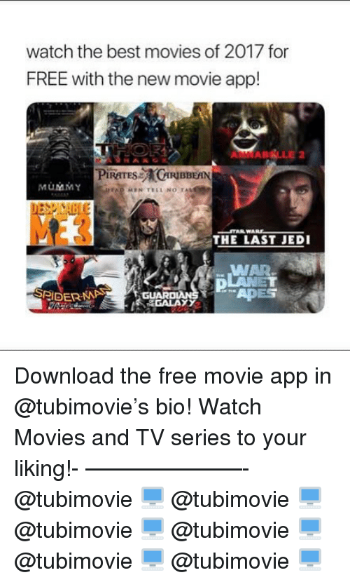 Jedi, Memes, and Movies: watch the best movies of 2017 for  FREE with the new movie app!  RIBBEAN  MůMMY  THE LAST JEDI  WAR Download the free movie app in @tubimovie's bio! Watch Movies and TV series to your liking!- ———————- @tubimovie 🖥 @tubimovie 🖥 @tubimovie 🖥 @tubimovie 🖥 @tubimovie 🖥 @tubimovie 🖥
