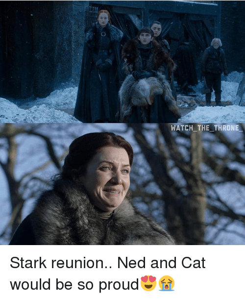 Memes, Watch, and Proud: WATCH THE THRONIE Stark reunion.. Ned and Cat would be so proud😍😭