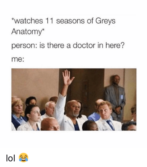 Doctor, Lol, and Memes: watches 11 seasons of Greys  Anatomy*  person: is there a doctor in here?  me: lol 😂