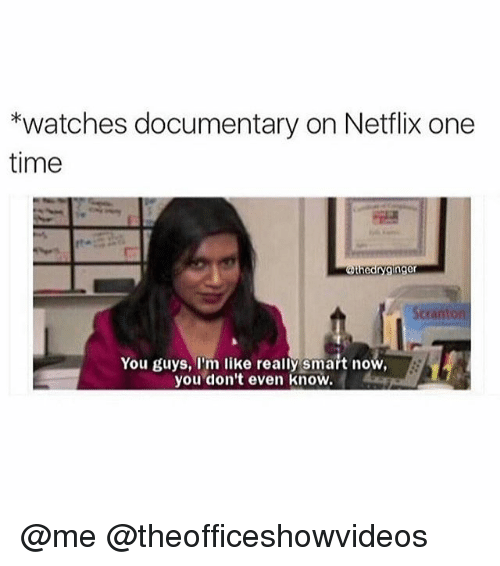Memes, Netflix, and Time: *watches documentary on Netflix one  time  the  ginger  Scranton  You guys, I'm like really smart now,  you don't even know. @me @theofficeshowvideos
