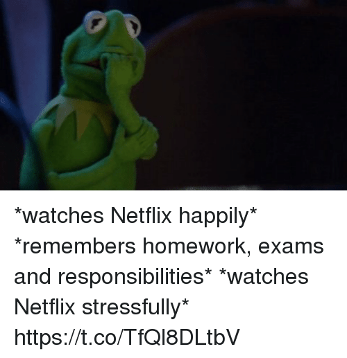 Stressfully: *watches Netflix happily* *remembers homework, exams and responsibilities* *watches Netflix stressfully* https://t.co/TfQl8DLtbV