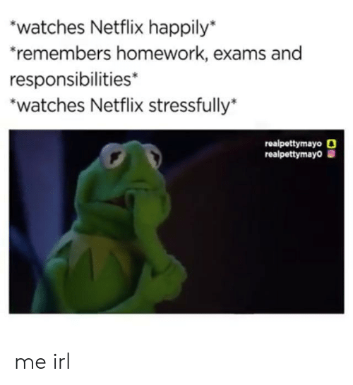 Stressfully: watches Netflix happily*  remembers homework, exams and  responsibilities*  *watches Netflix stressfully*  realpettymayo O  realpettymayo me irl