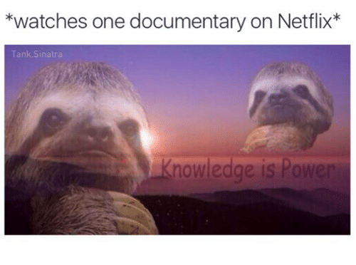 Memes, Netflix, and Power: *watches one documentary on Netflix  Tank Sinatra  nowledge is Power