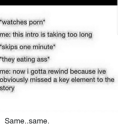 skips: watches porn  this intro is taking too long  skips one minute  they eating ass  me:  me:  now i gotta rewind because ive  obviously missed a key element to the  story Same..same.