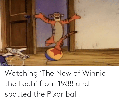 Pixar: Watching 'The New of Winnie the Pooh' from 1988 and spotted the Pixar ball.