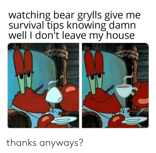 don't leave: watching bear grylls give me  survival tips knowing damn  well I don't leave my house thanks anyways?