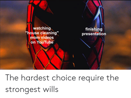 House Cleaning: watching  'house cleaning  mom videos  on YouTube  finishing  presentation The hardest choice require the strongest wills