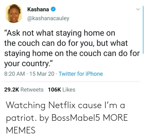 Netflix: Watching Netflix cause I'm a patriot. by BossMabel5 MORE MEMES