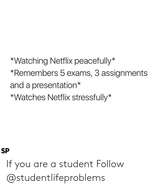 Stressfully: *Watching Netflix peacefully*  *Remembers 5 exams, 3 assignments  and a presentation*  *Watches Netflix stressfully*  SP If you are a student Follow @studentlifeproblems​