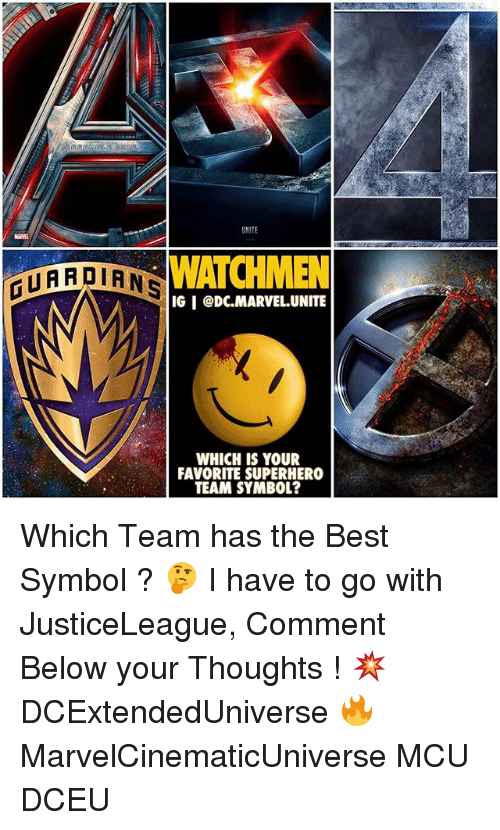 symbolism: WATCHMEN  ATARDIANS  IGI CDC MARVEL UNITE  WHICH IS YOUR  FAVORITE SUPERHERO  TEAM SYMBOL? Which Team has the Best Symbol ? 🤔 I have to go with JusticeLeague, Comment Below your Thoughts ! 💥 DCExtendedUniverse 🔥 MarvelCinematicUniverse MCU DCEU