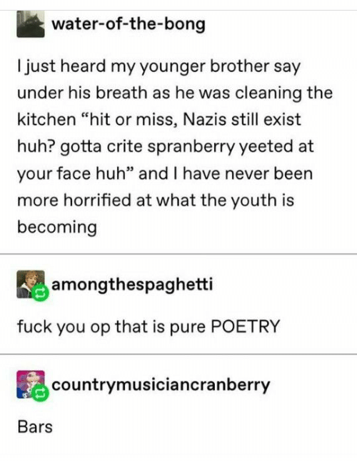 """Bong: water-of-the-bong  Ijust heard my younger brother say  under his breath as he was cleaning the  kitchen """"hit or miss, Nazis still exist  huh? gotta crite spranberry yeeted at  your face huh"""" and I have never been  more horrified at what the youth is  becoming  amongthespaghetti  fuck you op that is pure POETRY  countrymusiciancranberry  Bars"""