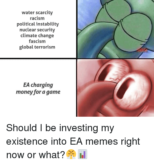 Memes, Money, and Racism: water scarcity  racism  political instability  nuclear security  climate change  fascism  global terrorism  EA charging  money for a game