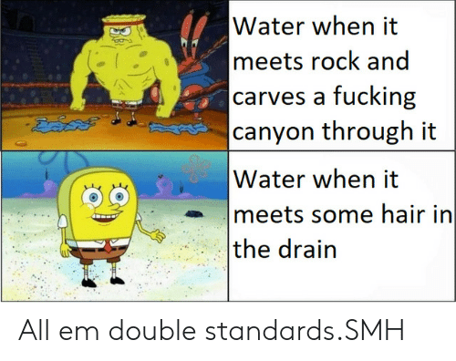 Double Standards: Water when it  meets rock and  carves a fucking  canyon through it  దెవదల  Water when it  meets some hair in  the drain All em double standards.SMH