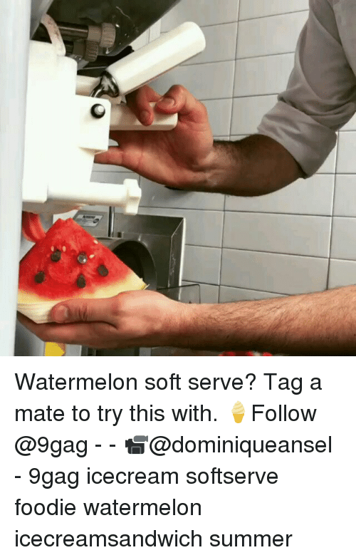9gag, Memes, and Summer: Watermelon soft serve? Tag a mate to try this with. 🍦Follow @9gag - - 📹@dominiqueansel - 9gag icecream softserve foodie watermelon icecreamsandwich summer