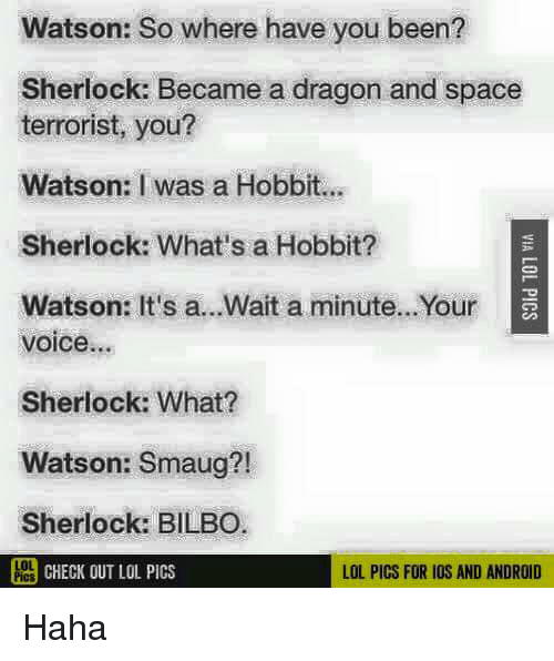 lol pics: Watson: So where have you been?  Sherlock: Became a dragon and space  terrorist, you?  Watson: I was a Hobbit.  Sherlock: What's a Hobbit?  Watson: It's a...Wait a minute...Your  voice...  Sherlock: What?  Watson: Smaug?!  Sherlock: BILBO  PCHECK OUT LOL PICS  LOL PICS FOR IOS AND ANDROID Haha