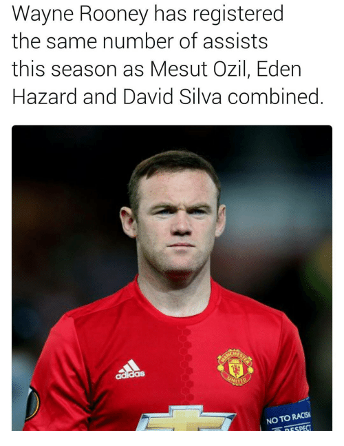 Memes, Racism, and David Silva: Wayne Rooney has registered  the same number of assists  this season as Mesut Ozil, Eden  Hazard and David Silva combined  NO TO RACISM  RESPECT