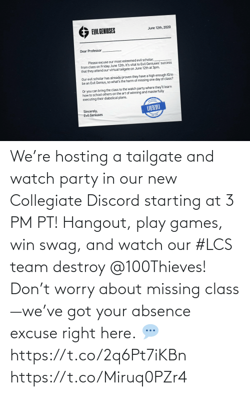 right: We're hosting a tailgate and watch party in our new Collegiate Discord starting at 3 PM PT! Hangout, play games, win swag, and watch our #LCS team destroy @100Thieves!  Don't worry about missing class—we've got your absence excuse right here.  💬 https://t.co/2q6Pt7iKBn https://t.co/Miruq0PZr4