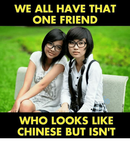 Memes, Chinese, and 🤖: WE ALL HAVE THAT  ONE FRIEND  WHO LOOKS LIKE  CHINESE BUT ISN'T