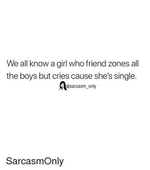 We All Know A: We all know a girl who friend zones all  the boys but cries cause she's single.  @sarcasm only SarcasmOnly