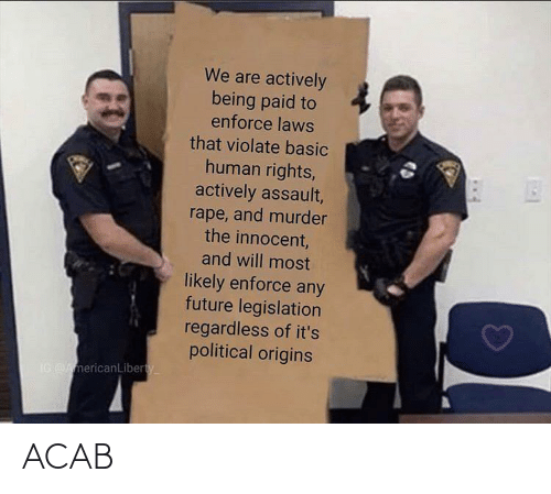 basic: We are actively  being paid to  enforce laws  that violate basic  human rights,  actively assault,  rape, and murder  the innocent,  and will most  likely enforce any  future legislation  regardless of it's  political origins  IG AmericanLiberty ACAB
