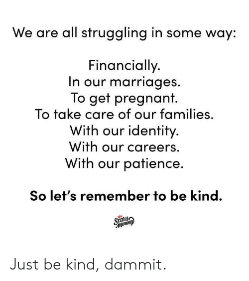 Patience: We are all struggling in some way:  Financially  n our marriages  To get pregnant.  To take care of our families,  With our identity  With our careers.  With our patience.  So let's remember to be kind. Just be kind, dammit.