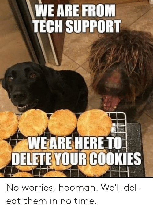 Tech Support: WE ARE FROM  TECH SUPPORT  WEARE HERE TO  DELETE YOUR COOKIES No worries, hooman. We'll del-eat them in no time.