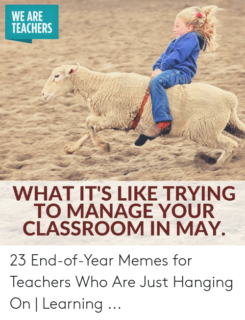 End Of School Year Meme: WE ARE  TEACHERS  WHAT IT'S LIKE TRYING  TO MANAGE YOUR  CLASSROOM IN MAY. 23 End-of-Year Memes for Teachers Who Are Just Hanging On | Learning ...