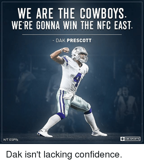 nfc east: WE ARE THE COWBOYS  WE RE GONNA WIN THE NFC EAST  DAK PRESCOTT  H/T ESPYs  CBS SPORTS Dak isn't lacking confidence.