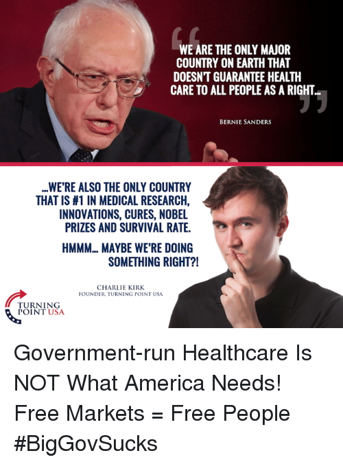 America, Bernie Sanders, and Charlie: WE ARE THE ONLY MAJOR  COUNTRY ON EARTH THAT  DOESNT GUARANTEE HEALTH  CARE TO ALL PEOPLE AS A RIGHT  BERNIE SANDERS  WERE ALSO THE ONLY COUNTRY  THAT IS #1 IN MEDICAL RESEARCH,  INNOVATIONS, CURES, NOBEL  PRIZES AND SURVIVAL RATE.  HMMM.. MAYBE WERE DOING  SOMETHING RIGHT?!  CHARLIE KIRK.  FOUNDER TURNING POINT USA  TURNING  POINT USA Government-run Healthcare Is NOT What America Needs! Free Markets = Free People #BigGovSucks