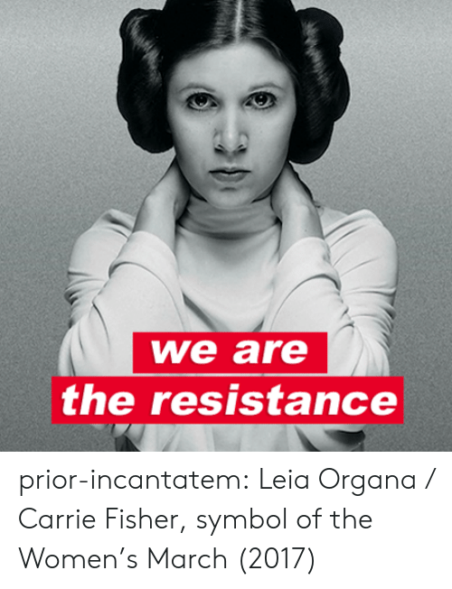 leia organa: we are  the resistance prior-incantatem: Leia Organa / Carrie Fisher, symbol of the Women's March (2017)