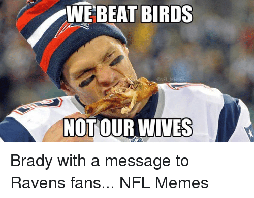 Meme, Memes, and Nfl: WE BEAT BIRDS  @NFL MEMES  NOT OUR WIVES Brady with a message to Ravens fans...  NFL Memes