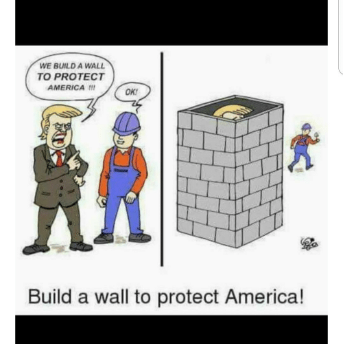 Memes, 🤖, and Build A: WE BUILD A WALL  TO PROTECT  AMERICA  OK.  Build a wall to protect America!