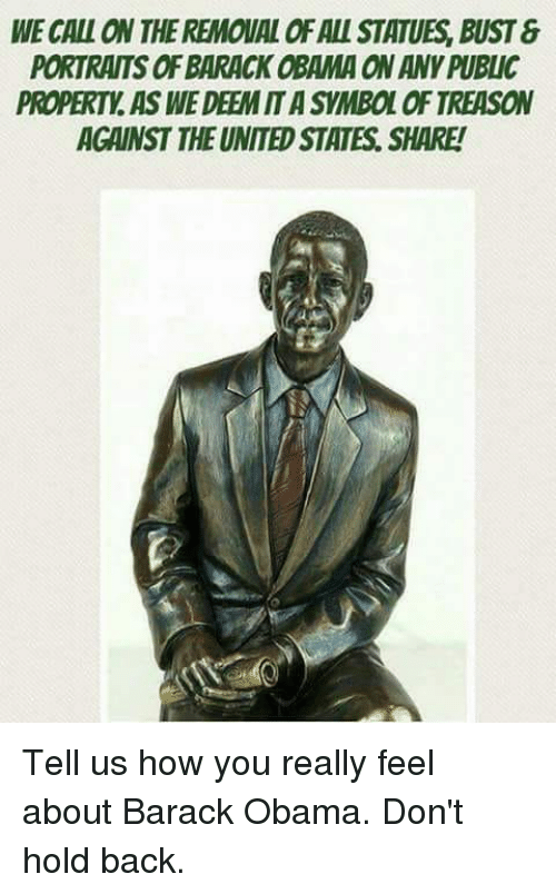 Memes, Obama, and Barack Obama: WE CALL ON THE REMOUAL OF ALL STATUES, BUST &  PORTRAITS OF BARACK OBAMA ON ANY PUBLIC  PROPERTY. AS WE DEEM IT A SYMBOL OF TREASON  AGAINST THE UNITED STATES. SHARE! Tell us how you really feel about Barack Obama. Don't hold back.