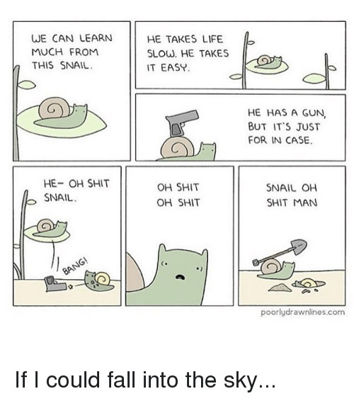 Fall, Guns, and Life: WE CAN LEARN  MUCH FROM  a THIS SNAIL  HE- OH SHIT  SNAIL  GN  HE TAKES LIFE.  SLOW. HE TAKES  IT EASY.  OH SHIT  OH SHIT  HE HAS A GUN,  BUT IT'S JUST  FOR IN CASE.  SNAIL OH  SHIT MAN  poorly drawnlines.com If I could fall into the sky...