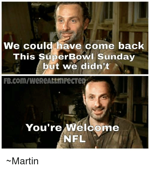 Youre Welcom: We could have come back  This Super Bowl Sunday  but we didn't  You're Welcome  NFL ~Martin