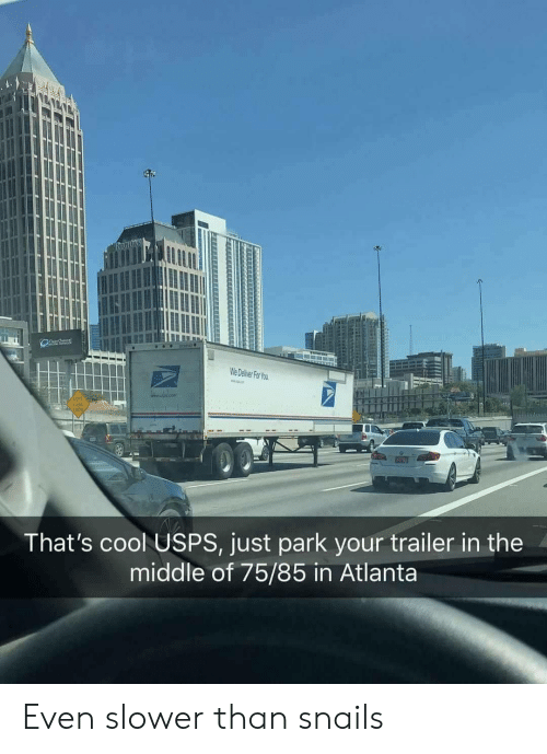 deliver: We Deliver For You  LEET  LANE  END  That's cool USPS, just park your trailer in the  middle of 75/85 in Atlanta Even slower than snails