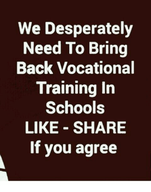 Memes, Back, and 🤖: We Desperately  Need To Bring  Back Vocational  Training in  Schoole  LIKE - SHARE  If you agree