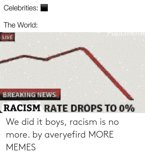 Racism: We did it boys, racism is no more. by averyefird MORE MEMES